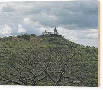 An Old Temple Building On Top Of A Hill With A Lot Of Clouds In The Sky Wood Print by Ashish Agarwal