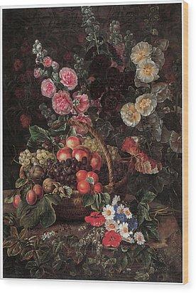 An Opulent Floral Still Life With Fruit Wood Print by Johan Laurentz Jensen