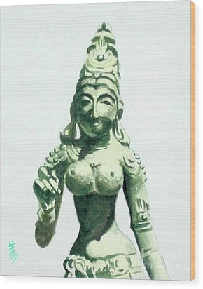 Wood Print featuring the painting An Oriental Statue At The Toledo Museum Of Art-4 by Yoshiko Mishina