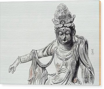 Wood Print featuring the painting An Oriental Statue At Toledo Art Museum - Ohio- 2 by Yoshiko Mishina