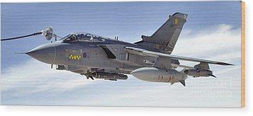 An Raf Tornado Gr-4 Takes On Fuel Wood Print by Stocktrek Images