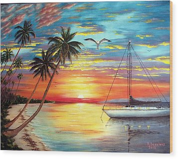 Anchored At Sunset Wood Print by Riley Geddings