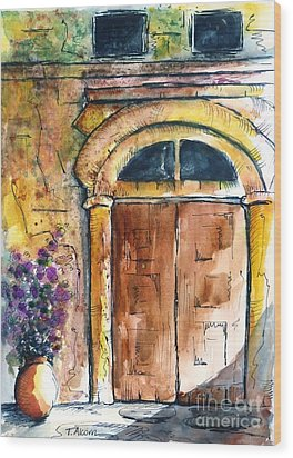 Ancient Door Of Greece Wood Print by Therese Alcorn