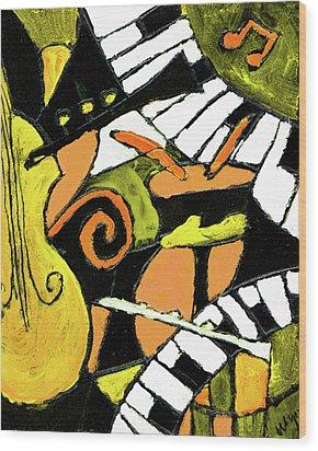 And All That Jazz Orange Wood Print by Wayne Potrafka