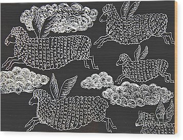 Wood Print featuring the drawing And Sheep Can Fly by Nareeta Martin