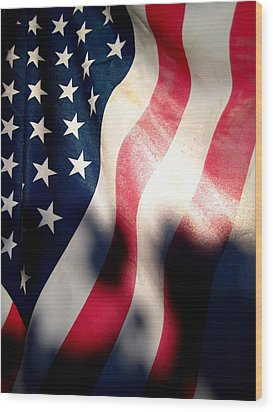 And The Flag Still Stood Wood Print by Catherine Natalia  Roche