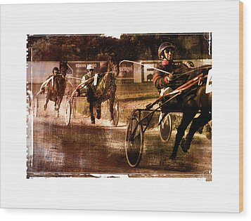 Wood Print featuring the photograph and the winner is - A vintage processed Menorca trotting race by Pedro Cardona