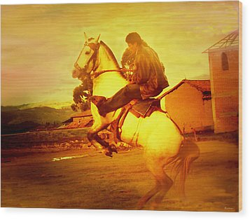 Andean Rearing Horse-cuzco Caballero IIi Wood Print by Anastasia Savage Ealy