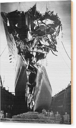 Andrea Doria Disaster. This Head-on Wood Print by Everett