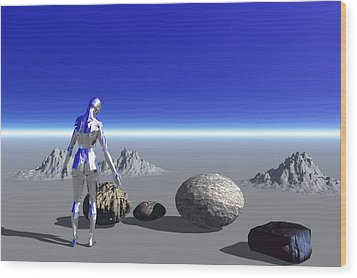Android On The Blue Planet Wood Print
