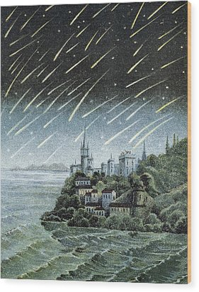 Andromedid Meteor Shower Wood Print by Science, Industry & Business Librarynew York Public Library