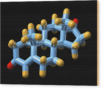 Androstenedione Hormone, Molecular Model Wood Print by Dr Mark J. Winter
