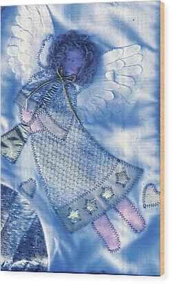 Angel Blue Wood Print by Anne-Elizabeth Whiteway