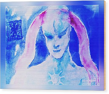 Wood Print featuring the mixed media Angel Blue by Hartmut Jager