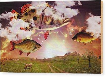 Angel Fish Wood Print by Mark Ashkenazi