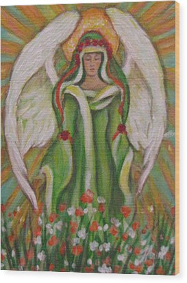 Angel In The Garden Wood Print by Radha Flora Cloud