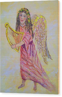 Wood Print featuring the painting Angel by Lou Ann Bagnall