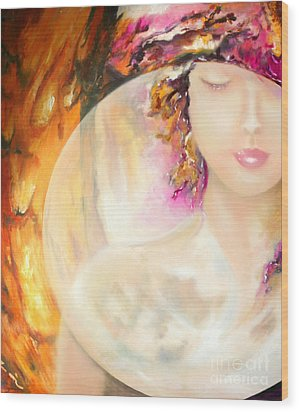 Wood Print featuring the painting Angel Luna by Michael Rock