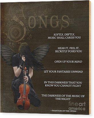 Angel Of Music Wood Print by Serena Ballard