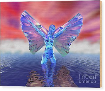 Angel On The Water Wood Print by Ricky Schneider