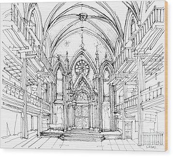 Angel Orensanz Sketch 2 Wood Print by Adendorff Design