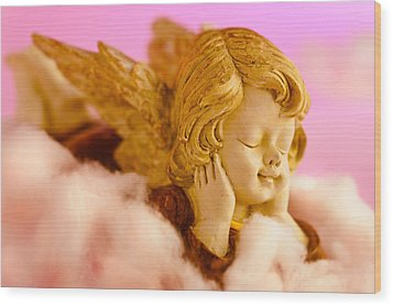 Angel Resting On Clouds And Enjoying The Sun Wood Print by U Schade