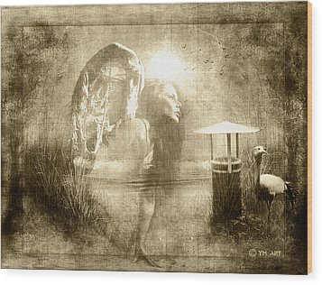 Angel Spirit Sepia Wood Print by Yvon van der Wijk