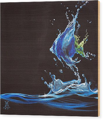Angel Splash Wood Print by Marco Antonio Aguilar