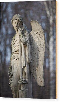 Angel Statue Wood Print by Artur Bogacki