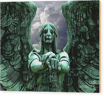 Angel Warrior Wood Print by Anne Raczkowski