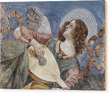 Angel With A Lute Wood Print by Granger