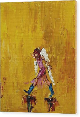 Angel With Cowboy Boots Wood Print by Judy Mackey