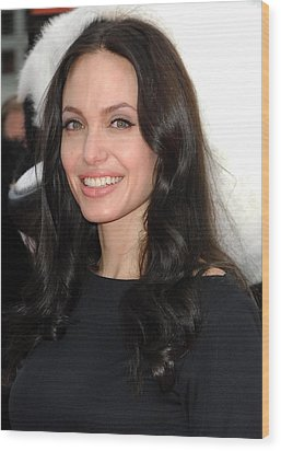 Angelina Jolie At Arrivals For Dvd Wood Print by Everett