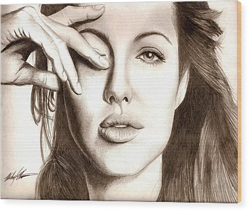 Angelina Jolie Wood Print by Michael Mestas