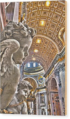 Angels At The Vatican Wood Print by Michael Yeager