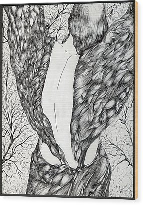 Wood Print featuring the painting Angel's Dance 2 by Nadine Dennis