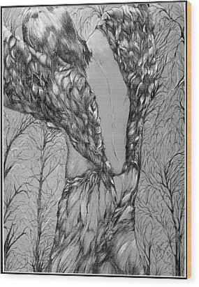 Wood Print featuring the drawing Angel's Dance by Nadine Dennis