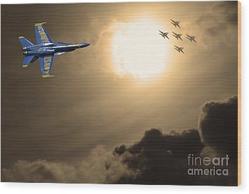 Angels In The Sky . Partial Sepia Wood Print by Wingsdomain Art and Photography