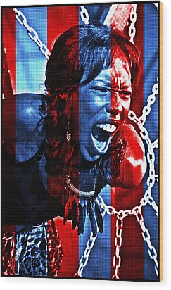 Wood Print featuring the photograph Anger In Red And Blue by Alice Gipson