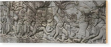 Wood Print featuring the photograph Angkor Wat - War Scene by Andrei Fried