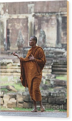 Wood Print featuring the photograph Angkor Wat Monk by Nola Lee Kelsey