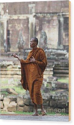 Angkor Wat Monk Wood Print by Nola Lee Kelsey