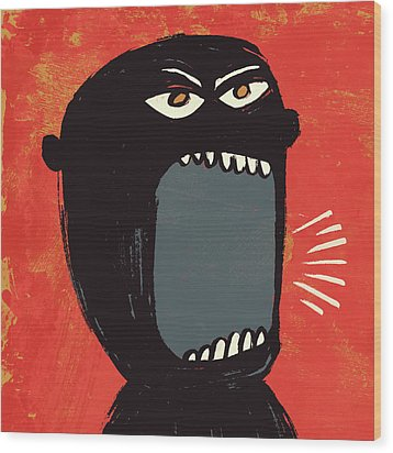 Angry Shout Man Illustration Wood Print by Don Bishop