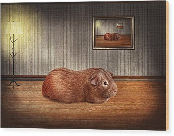 Animal - The Guinea Pig Wood Print by Mike Savad
