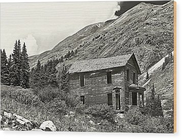 Animas Forks Ink Outline Wood Print by Melany Sarafis