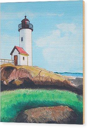Aninisquam Harbor Light Wood Print