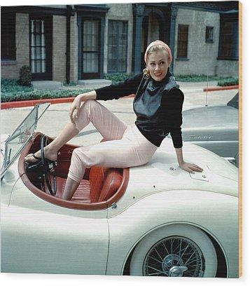 Anita Ekberg, On Her Jaguar, Late 1950s Wood Print by Everett
