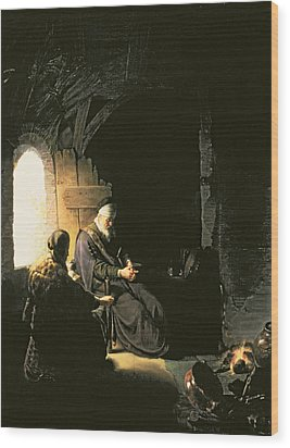 Anna And The Blind Tobit Wood Print by Rembrandt Harmensz van Rijn