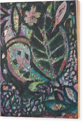 Anne Imagines Abstract Leaves Wood Print by Anne-Elizabeth Whiteway