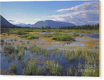 Annie Lake In Yukon Wood Print by Charline Xia